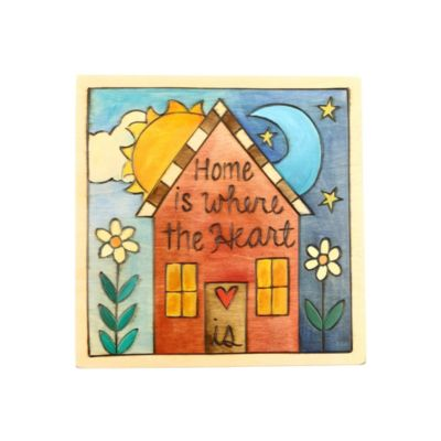 """Sticks 7"""" x 7"""" Home is Where The Heart Is Wood Plaque"""