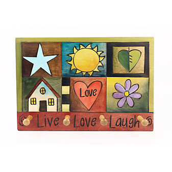 Sticks Live Love Laugh Key Ring Wood Plaque