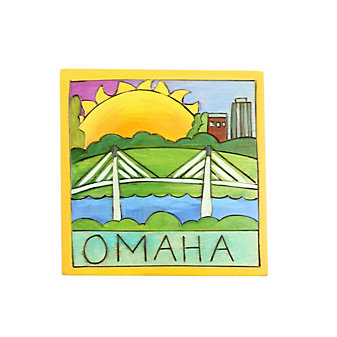 "Sticks Omaha Bridge 7"" x 7"" Wood Plaque"
