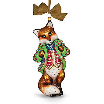 Jay Strongwater Jubilee Fox Glass Jewel Ornament