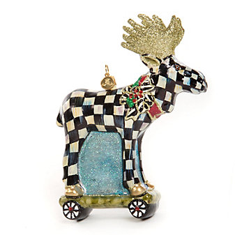 MacKenzie-Childs Moose on Parade Glass Ornament