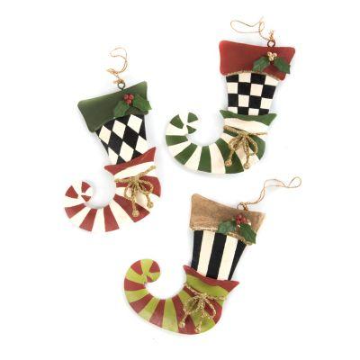 mackenzie-childs elf stocking ornaments- set of 3