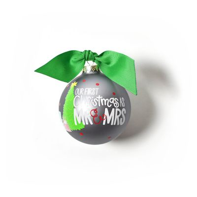 coton colors our first christmas as mr. & mrs. glass ornament