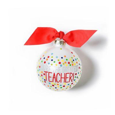 coton colors greatest teacher bright confetti glass ornament
