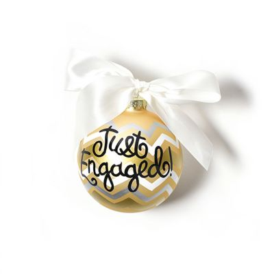 coton colors just engaged metallic glass ornament