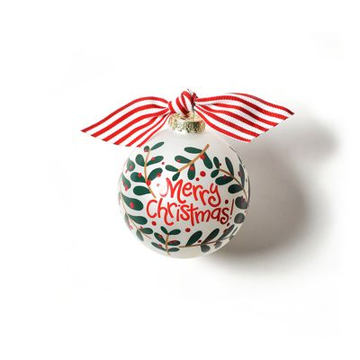 coton colors merry christmas holly branch glass ornament