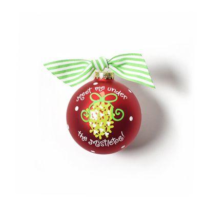 coton colors meet me under the mistletoe glass ornament