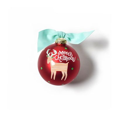 coton colors merry christmas reindeer glass ornament
