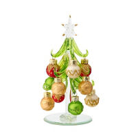 """Glass_Tree_With_Multi_Colored_Ornaments,_6"""""""
