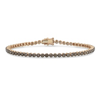 14K_Rose_Gold_&_Black_Rhodium_Round_Brown_Diamond_Tennis_Bracelet,_7.25""