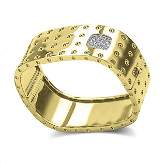 Roberto Coin Pois Moi 18K Yellow and White Gold Diamond Bangle Bracelet