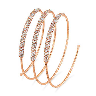 Mattia Cielo 18K Rose Gold Diamond Three Row Coil Bracelet