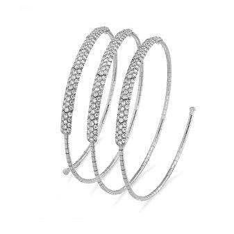 Mattia Cielo 18K White Gold Diamond Three Row Coil Bracelet