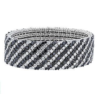 roberto demeglio 18k white gold white & black diamond cachemire stripe bracelet