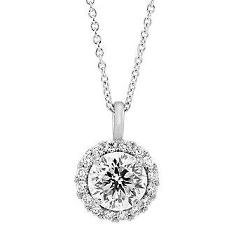 18K White Gold Borsheims Signature Round Diamond Halo Pendant