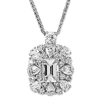 J.B. Star Emerald Cut Diamond Halo Pendant