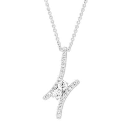 18K White Gold Forevermark Diamond Bypass Pendant, 0.55cttw