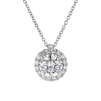 18k white gold kalahari dream diamond halo pendant, 1.36cttw