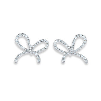 Kwiat 18K White Gold Round Diamond Bow Earrings