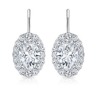 18K White Gold Oval & Round Diamond Halo Earrings
