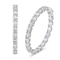18K_White_Gold_Round_And_Baguette_Diamond_Hoop_Earrings