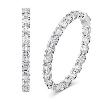 18K White Gold Round And Baguette Diamond Hoop Earrings