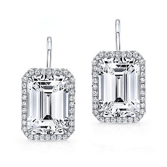 18k white gold emerald cut earrings with diamond halo