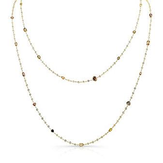 18K Yellow Gold Mixed Cut Diamond Necklace