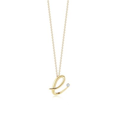 "Kwiat 18K Yellow Gold Diamond Initial ""E"" Pendant"