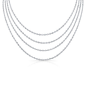 "18K White Gold Round Diamond Station Necklace, 90"""