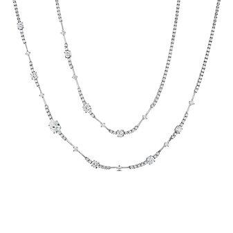 """18K White Gold Oval & Round Diamond Station Necklace, 37"""""""