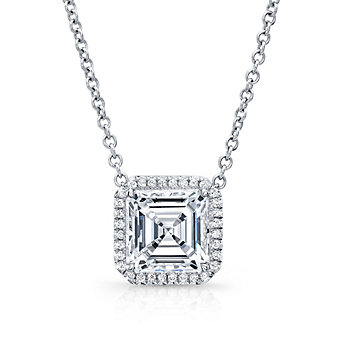 18K White Gold Asscher Cut Diamond and Round Diamond Halo Necklace