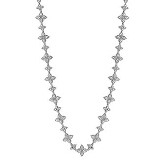 Roberto Coin 18K White Gold Asscher Cut Diamond and Round Diamond Halo Necklace