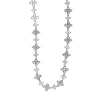 "Roberto_Coin_18K_White_Gold_Princess_Flower_Diamond_Necklace,_17.5"""
