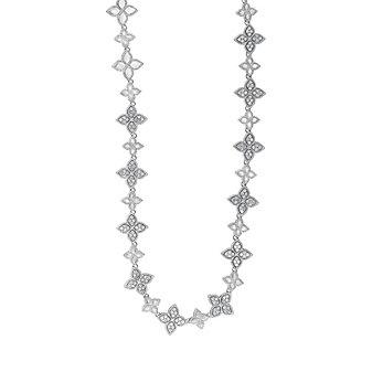 "Roberto Coin 18K White Gold Princess Flower Diamond Necklace, 17.5"""