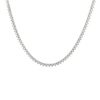 "18k white gold 36"" round diamond necklace"
