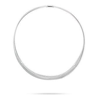 "marco bicego 18k white gold diamond 3 row masai collar necklace, 18"""