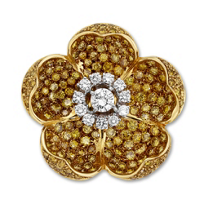 18K_Yellow_&_White_Gold_Yellow_and_White_Diamond_Flower_Pin