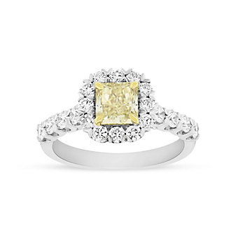 18K Two Tone Fancy Yellow Radiant Diamond with Diamond Halo & Shank, 1.80cttw