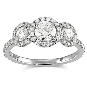 18K Three Stone Diamond Halo Ring