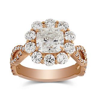 Forevermark 18K Rose Gold Cushion Diamond Halo Ring