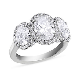 18K White Gold Three Oval Diamond Ring With Round Diamond Halos