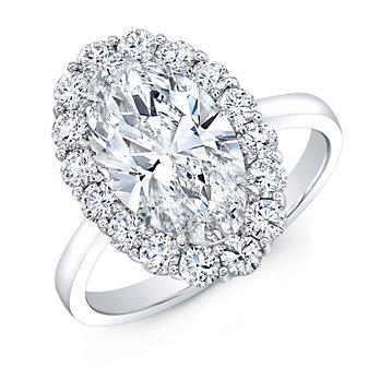 Platinum Oval Diamond Ring With Round Diamond Halo