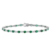 18k_white_gold_round_emerald_&_diamond_bracelet,_7""