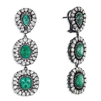 18K_White_Gold_Faceted_Emerald_and_Diamond_Drop_Earrings