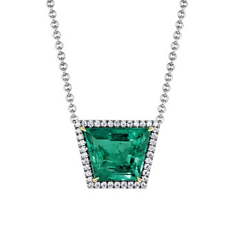 18K White Gold Trapezoid Emerald and Diamond Halo Necklace