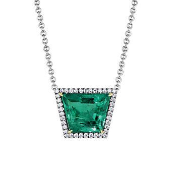 18K White Gold Trapezoid Emerald and Diamond Halo Necklace