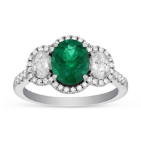 18K_White_Gold_Oval_Emerald_&_Diamond_Halo_Ring______________________