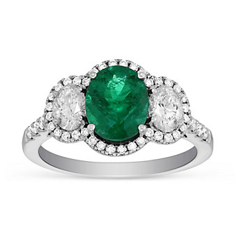 18K White Gold Oval Emerald & Diamond Halo Ring