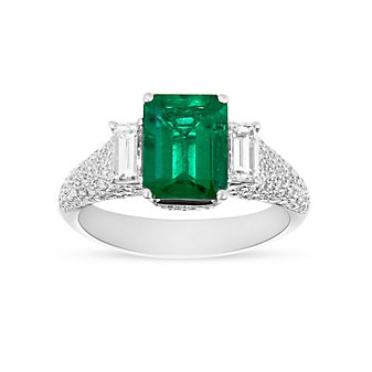 18K White Gold Emerald and Diamond 3 Stone Ring with Diamond Pave Shank